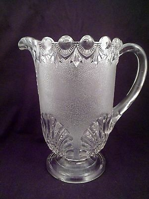 EAPG Stippled Shell Footed Pitcher, Portland Glass, circa 1863-1873, Antique
