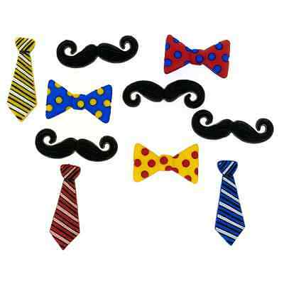 10 Guy Thing Moustache bowtie Dress It Up Novelty Craft Buttons Embellishments