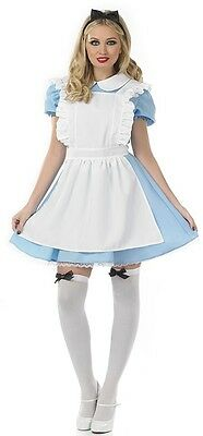 Ladies Traditional Alice in Wonderland Fancy Dress Costume Outfit 8-22 Plus Size