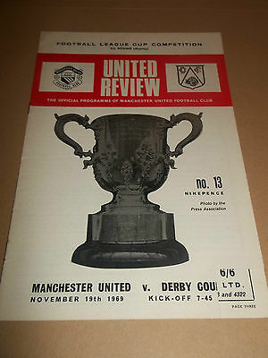 Manchester United V Derby County League Cup 5Th Round Replay 1969 Programme