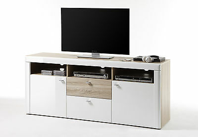 tv unterteil unterschrank lowboard weiss hochglanz eiche s gerau woody 35 00097 eur 349 00. Black Bedroom Furniture Sets. Home Design Ideas