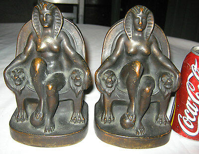 Antique Armor Bronze Clad Egyptian Revival Art Deco Lady Nude Sculpture Bookends