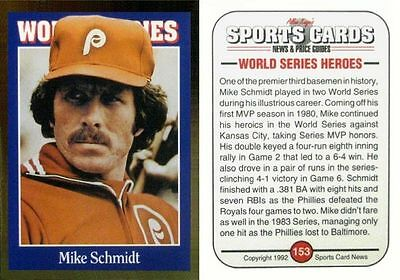 1992 Sports Cards Mike Schmidt - Philadelphia Phils - Hall of Fame - NEAR MINT