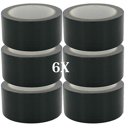 6 x BIG WIDE LONG Black Gaffer Gaffa Duck Duct Cloth Tape 48mm x 50m HEAVY DUTY