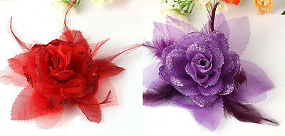 Red Or Purple Fabric Rose With Feathers Brooch Corsarge