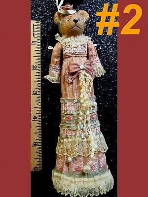 VICTORIAN LADY GIRL BEAR Christmas Ornament Craft Seasonal Tree Wreath Home Doll