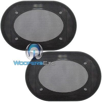 """(2) UNIVERSAL 4""""x6"""" SPEAKER COAXIAL COMPONENT PROTECTIVE GRILLS COVERS NEW PAIR"""