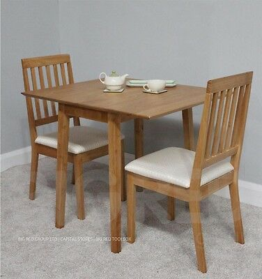 Solid Wood Extending Dining Table + 2 Chairs - Oak Finish