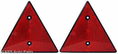 2x Red Triangle Reflector For Trailer Caravan Van Truck Rear Tail Mount Holes