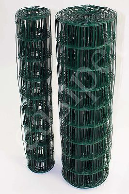 Green PVC Coated Steel Mesh Fencing 90cm or 120cm Wire Garden Galvanised Fence
