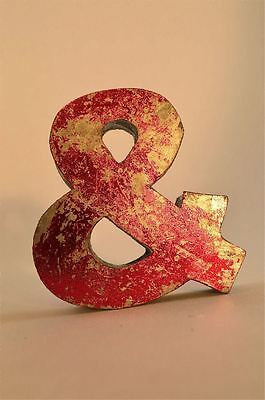 Fantastic Retro Vintage Style Red 3D Metal Shop Sign Ampersand & Font Symbol
