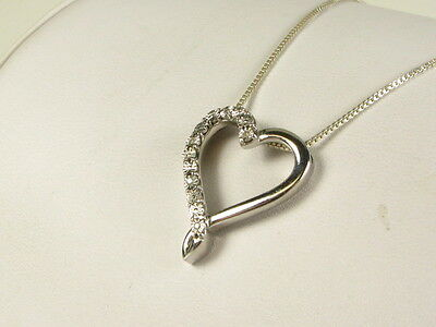 """Sterling .04ctw Natural Round Cut Diamond Open Heart Pendant and Necklace 20""""L"""