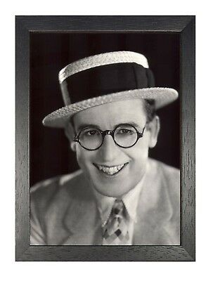 Harold Lloyd Clock Scene American Actor Black White Poster Glasses Hat Man Photo