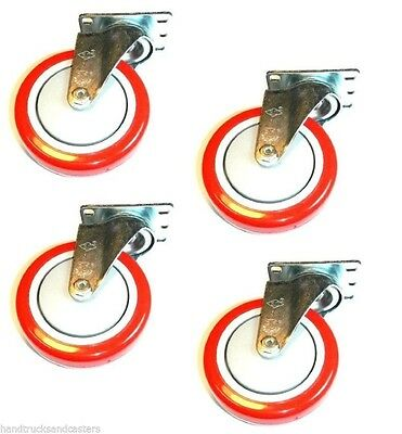 """Set of 4 Swivel Plate Casters with Red 5"""" Polyurethane Wheels & 275# Capacity"""