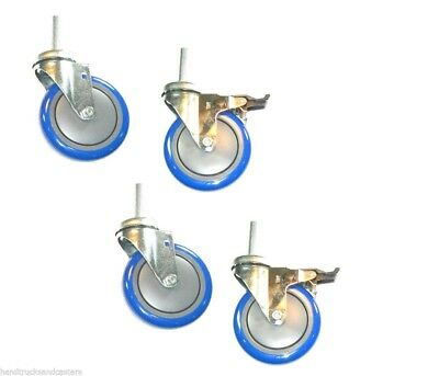 """Set of 4 Stem Casters with 5"""" Polyurethane Wheels 1/2"""" Threaded Stems & 2 Brakes"""
