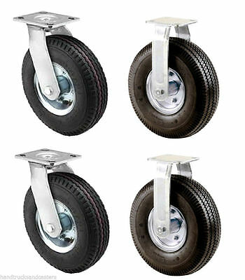 """Set of 4 Pneumatic Wheel Casters with 10"""" x 3-1/2"""" Air Tires, 1,400 lb. Capacity"""