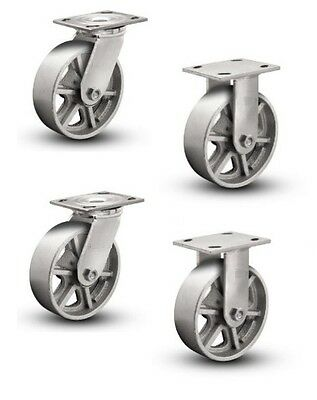"""Set of 4 Plate Casters with 8"""" Cast Iron Spoked Wheels 2 Rigid and 2 Swivel"""