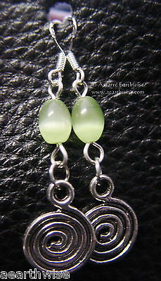 LABYRINTH GODDESS SPIRALS EARRINGS 925 STERLING SILVER HOOKS Wicca Witch Pagan