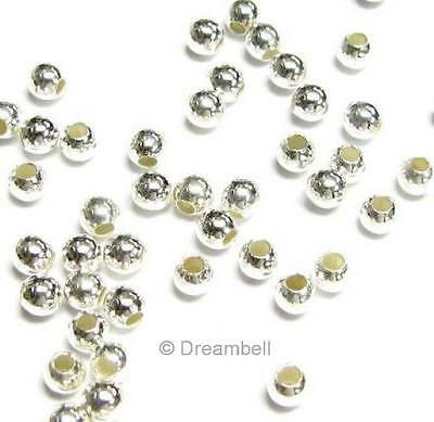 100 Sterling Silver seamless Round Beads Spacer 3mm
