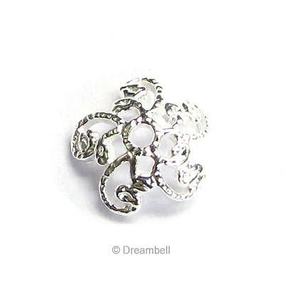6x Bright Sterling Silver FILIGREE Round Flower Bead Cap 7mm .925