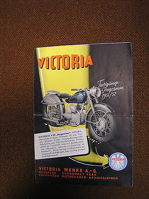 Rare 1951 - 1952 Germany Victoria  Motorcycle Sales Pamphlet / Brochure