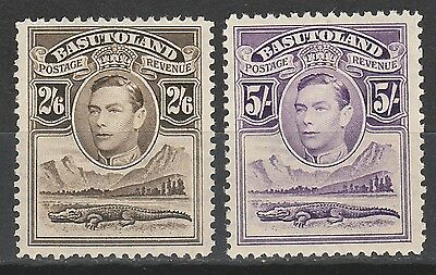 Basutoland 1938 Kgvi Crocodile 2/6 And 5/-