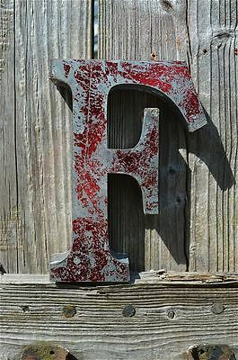 Medium Vintage Style 3D Red F Shop Sign Letter Tin Wall Art Letter Font