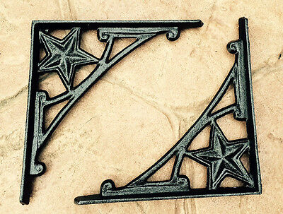 GLOSS BLACK cast iron WESTERN Texas STAR wall shelf BRACKETS pairs