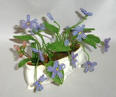"""Antique Germany Hand Beaded Glass Violets & Leaves in 5"""" Flower Pot"""