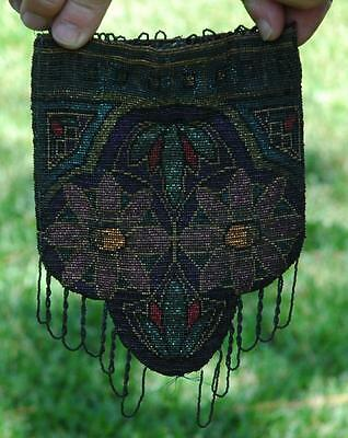 Vintage Art Nouveau Beaded Purse W/ Beautiful Colorful Floral Design