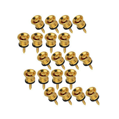 Set of 20pcs Gold Color Guitar Bass Strap Buttons Guitar End Pins Strap Locks