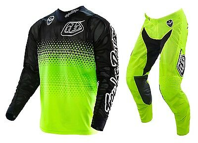 New 2016 Troy Lee Designs Se Air Starburst Gear Combo Flo Yellow/blk Size 34/xl