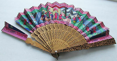 Chinese 1000 Faces Fan Hand Painted w Applied Clothing & Faces AS IS