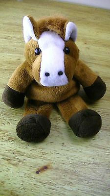 BEANIE BAG PLUSH TOY BROWN & WHITE HORSE MARE STUD  NO TAGS HARD TO FIND RARE!