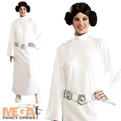 Deluxe Princess Leia + Wig Fancy Dress Star Wars Ladies Costume Adult Outfit New