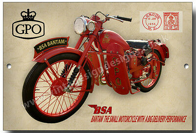 Bsa 125Cc Gpo D1 Bantam Metal Sign.british Motorcycles,bsa Little Red Rooster
