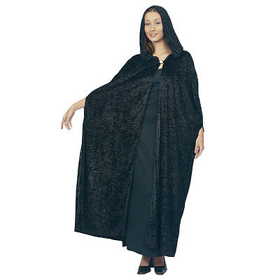 Gothic Wizards Hooded Black Cloak Fancy Dress Adult Halloween Costume Accessory