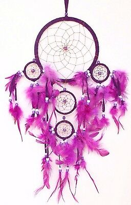 Bright Purple Handmade Dream Catcher w/ Feather Car Wall Home Decor ( Qty 2 )