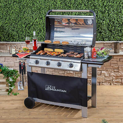 Fire Mountain Everest 4 Burner Gas Barbecue in Stainless Steel/Black FREE P&P