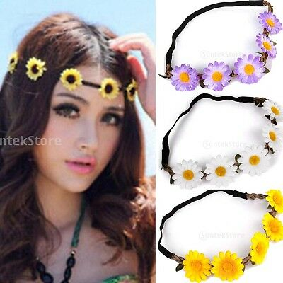 Boho Floral Daisy Flower Crown Elastic Headband Hair Wreaths Headpiece Wedding