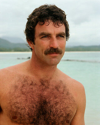 Magnum, P.I. Tom Selleck barechested on beach 16x20 Photo Poster