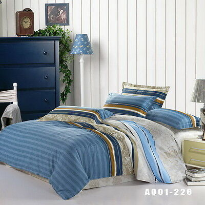 Striped Doona Quilt Duvet Cover Set Single/Double/Queen/King Size Bed New Cotton