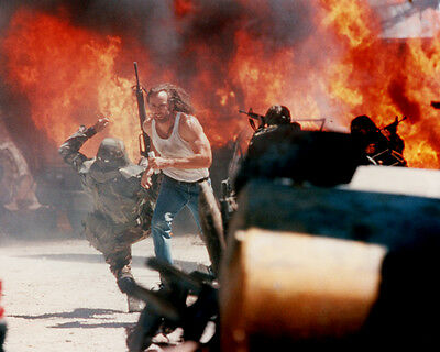 Con Air Nicolas Cage In Vest Running By Giant Explosion 16X20 Photo Poster