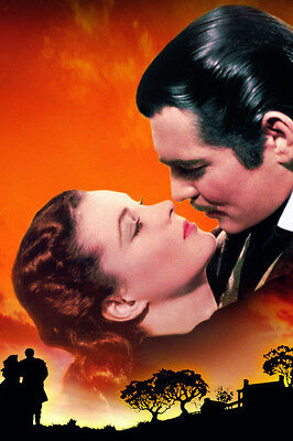 Gone with the Wind Clark Gable Vivien Leigh colorful art 24X36 Poster