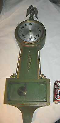 Antique American Bronze Usa Bald Eagle Sessions Banjo Wall Tic Toc Clock 8 Day