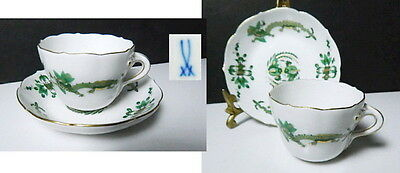 Meissen GREEN DRAGON Demitasse Cup & Saucer(s) Crossed Swords,1st Quality, Mint