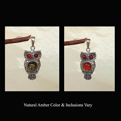 BALTIC HONEY or MULTICOLOR AMBER & STERLING SILVER OWL SHAPED SOLITAIRE PENDANT