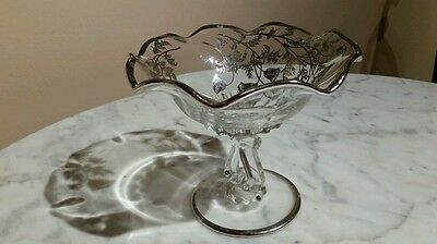 Vintage Silver Overlay Glass Pedestal Ruffle Edged Bowl Compote