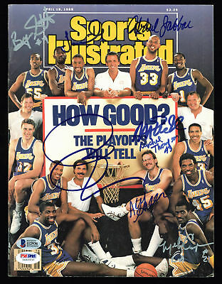 Showtime Lakers (8) Magic, Kareem, Riley Signed Sports Illustrated PSA #5A60630