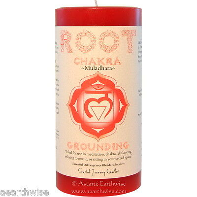 LARGE ROOT CHAKRA PILLAR CANDLE RED Wicca Pagan Witch CEDAR & CLOVE MULADHARA